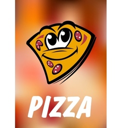 Funny cartoon pizza slice vector image vector image