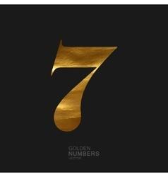 Golden number 7 vector image vector image