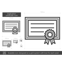 Graduation certificate line icon vector