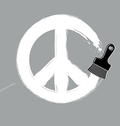 Hand-drawn peace sign antiwar symbol from 60s made vector