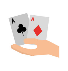 hand human with poker cards vector image