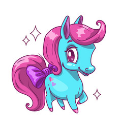little cute blue horse with pink hair vector image vector image