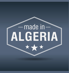made in algeria hexagonal white vintage label vector image vector image