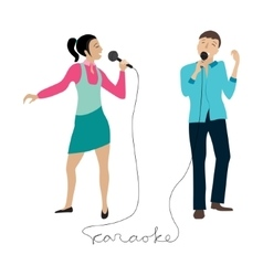 Man and woman singing into microphone vector image