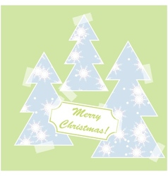 Merry Christmas card with snow and christmas trees vector image