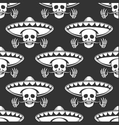 Mustache skull in sombrero seamless pattern vector