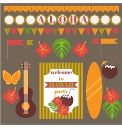 Printable set of hawaii party elements templates vector
