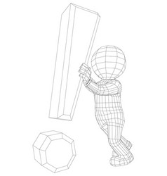 puppet 3d man holding exclamation sign vector image vector image