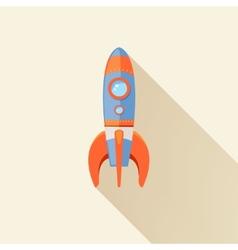 Rocket long shadow icon vector image vector image