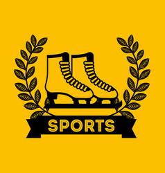 Skates sport emblem icon vector