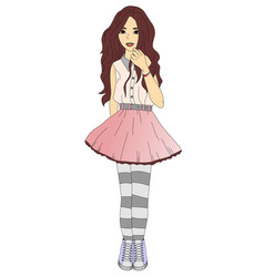 trendy teen girl vector image