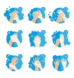 Washing hands properly - medical instructions for vector image