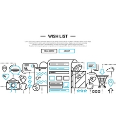 Wish list - line design website banner temlate vector