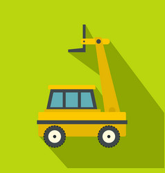 Yellow cherry picker icon flat style vector