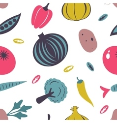 Colorful fresh fruit and vegetables seamless vector