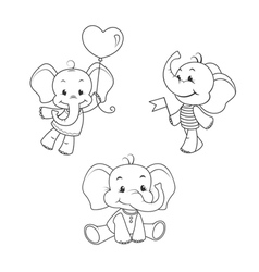 Baby elephant outline characters set vector