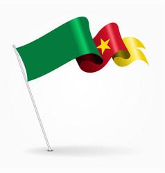 cameroon pin wavy flag vector image