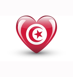 Heart-shaped icon with national flag of tunisia vector