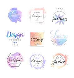 Fashion luxury boutique logo design set colorful vector