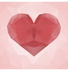 Red heart made of transparent triangles on a pink vector