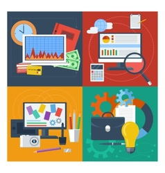 Set of concept for finance marketing web design vector