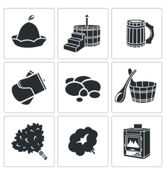 Bath accessories icons set vector