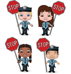 Kid cops with stop signs vector