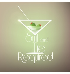 Cocktail background with martini glass vector
