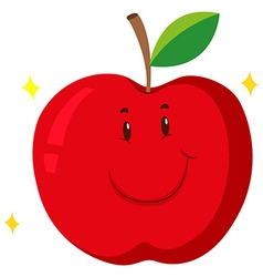 Red apple with happy face vector