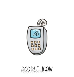 Doodle icon with credit card payment vector
