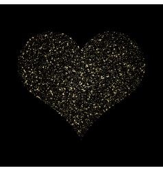 Heart gold texture glittering stars dust trail vector