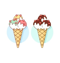 Icon ice cream different pastel color in line vector