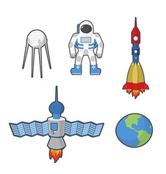 Astronaut and Earth space icon set vector image vector image