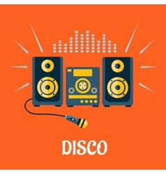 Audio system with microphone in flat style vector image vector image