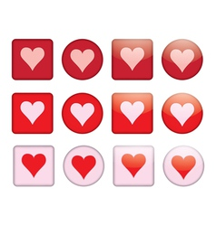 buttons with valentine vector image vector image