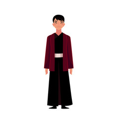 Chinese man in traditional national costume black vector