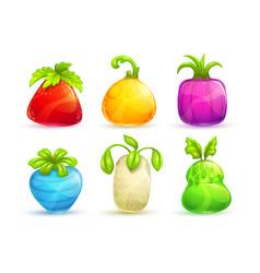 cute cartoon bright colorful fantasy fruits and vector image