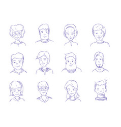 doodle human heads hand drawn adult portraits vector image vector image