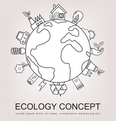 Ecology and environment concept green planet with vector