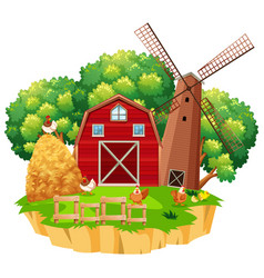 Farm scene with red barn and wooden windmill vector