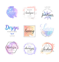 fashion luxury boutique logo design set colorful vector image