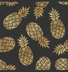 golden pineapples seamless pattern vector image vector image