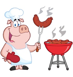 Happy Pig Chef Cook At Barbecue vector image