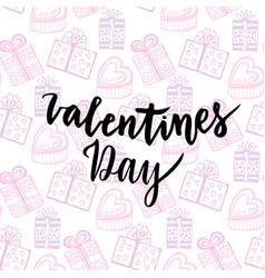 happy valentines day card handwritten design vector image