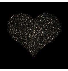 Heart gold texture glittering stars dust trail vector