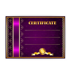 horizontal elegant template of certificate vector image