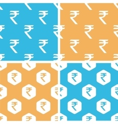 Indian rupee pattern set colored vector
