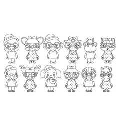 Lineart cute animal boy girl cubs mascot cartoon vector