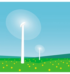 Rotating wind turbines and blue sky vector image