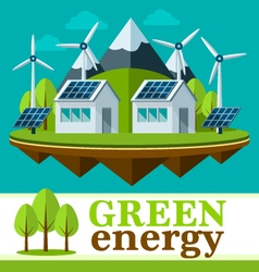 Safe and green energy concept in a flat style vector